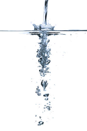 The effect of running water above and below surface level.