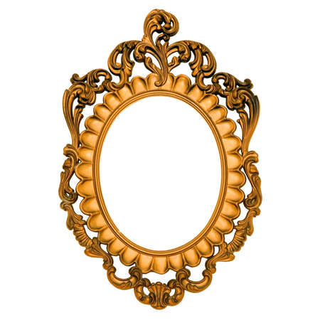 Ornate gold frame with blank canvas. Stock Photo