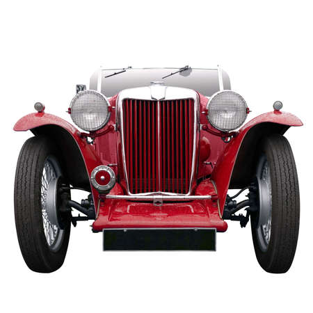 sportster: A Vintage red sports car, isolated on white. Stock Photo