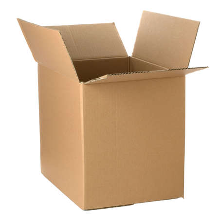 Brown cardboard box, add your own design or logo.  Isolated on white. Stock Photo