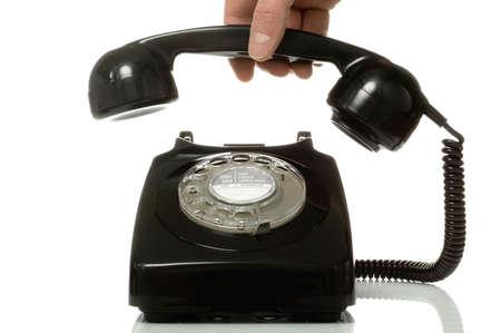 telecoms: Retro nero telefono riprese.