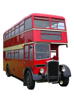 double decker: Vintage red double decker bus, isolated on white Stock Photo