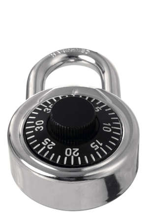 Chrome combination padlock at an angle. Isolated on white. Stock Photo - 2421535