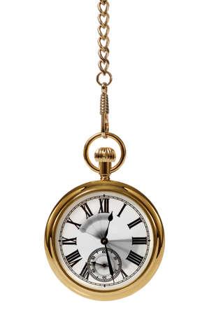 reloj de pendulo: Reloj de bolsillo de oro con el movimiento borroso en las manos para transmitir el paso del tiempo.  Foto de archivo