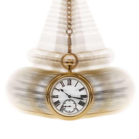 pocket watch: Concept image depicting Time and Motion on a white background.