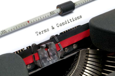 Terms and Conditions typed on an old typewriter. photo