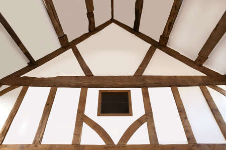 Oak beamed ceiling from an old house that's recently been restored. Stock Photo - 2575001