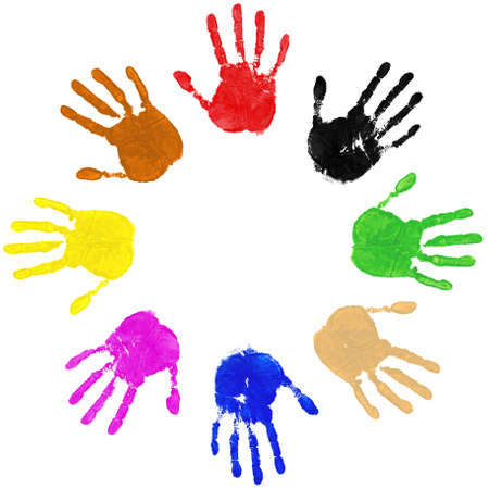 hand colored: Multi coloured painted handprints arranged in a circle on a white background. Stock Photo