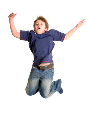 Young boy jumping in the air, isolated on white, motion blur. Stock Photo - 2602916