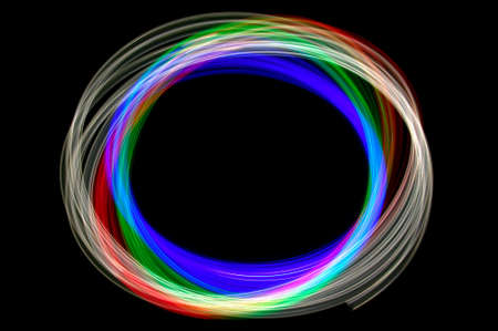 oscillation: Abstract physiogram light image using three different colour filters.