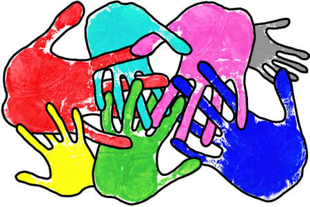 multi cultural: Hand prints in many colours with interlocking fingers on a white background. Stock Photo