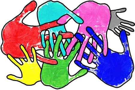 identidad cultural: La mano imprime en muchos colores con los dedos que se enclavijan en un fondo blanco.