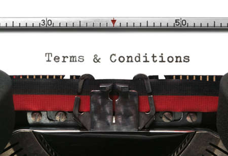 Terms & Conditions on an old typewriter in genuine typescript. photo