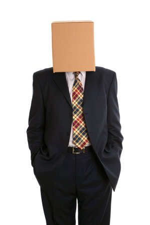 inconspicuous: An anonymous businessman with a box on his head and hands in pockets.