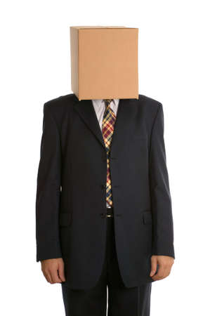 distinguish: An anonymous businessman with a box on his head concealing his identity