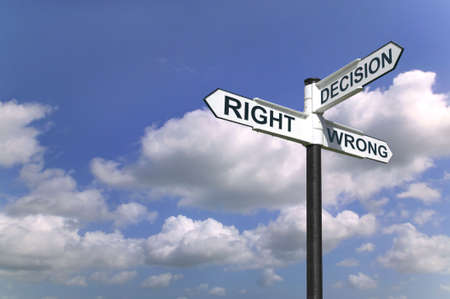 Concept image of a signpost with Decision Right or Wrong against a blue cloudy sky photo