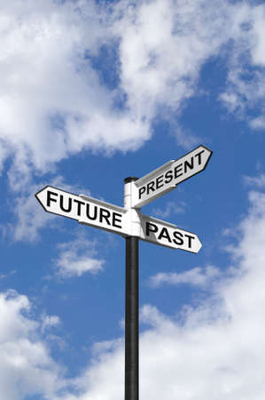 cliche': Concept image of Future Past & Present on a signpost against the sky.