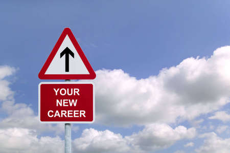 Signpost in the sky for Your New Career , concept image for employment related themes.