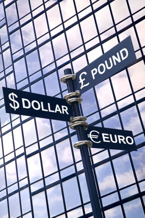 Money concept image of a signpost with Pound, Dollar and Euro against a modern glass office building. Stock Photo - 2784483