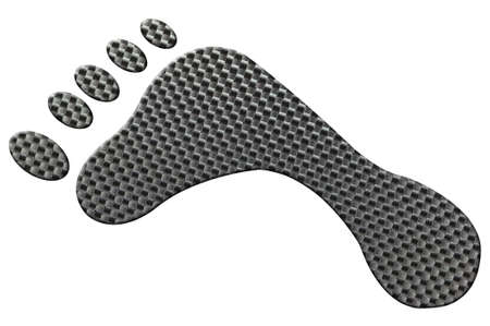 Footprint made out of a genuine carbon fibre sheet, isolated on white with clipping path. photo