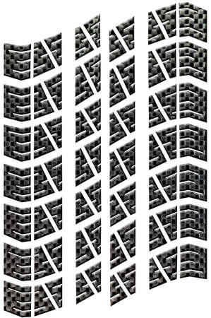 Tread from a car tyre in carbon fibre, isolated on a white background. Environmental concepts of leaving a carbon footprint. Stock Photo - 2818628