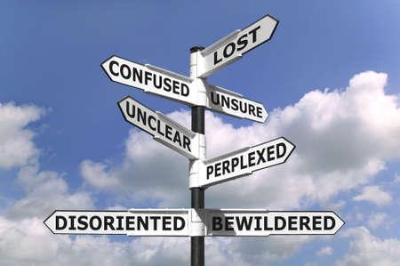 혼란스러운: Concept image of a lost and confused signpost against a blue cloudy sky. 스톡 사진