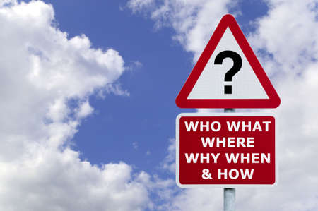 who: Signpost with the six most commonly asked questions, against a blue cloudy sky.