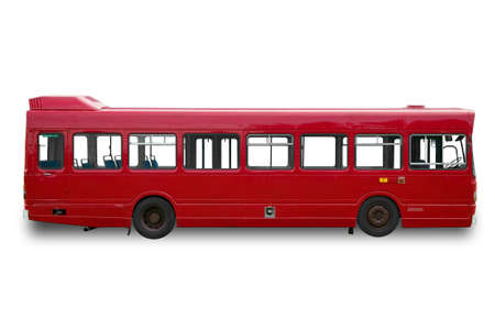 Red single deck bus  coach, isolated on a white background with clippings paths. Slight shadow has been added but can be easily removed by using the clipping path. photo