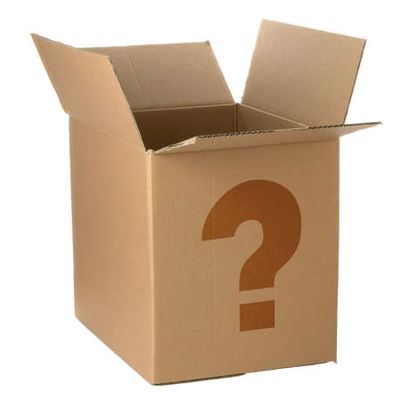 Brown cardboard box with a question mark.  Isolated on white.