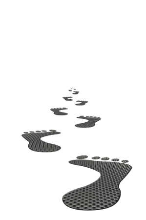 Carbon footprints heading into the distance on a white background. Stock Photo - 3252876