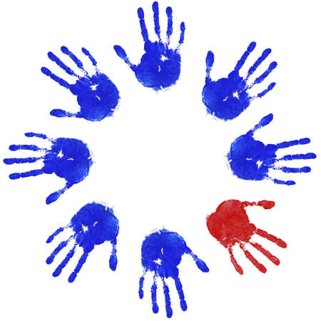 odd: Images of blue handprints with an odd red one, concepts of Teamwork, Equality and Diversity. Stock Photo