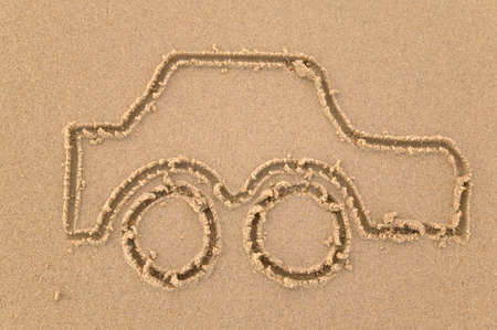 Sand drawing of a car photo