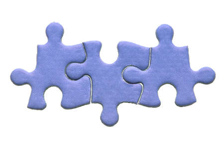 Three blue genuine jigsaw puzzle pieces isolated on a white background.