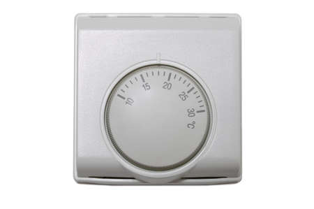thermostat: Central heating thermostat control isolated on a white background. Stock Photo