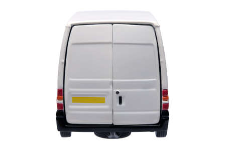 rear: Rear of a model white van with blank door panels for your own branding, isolated on white with clipping path.