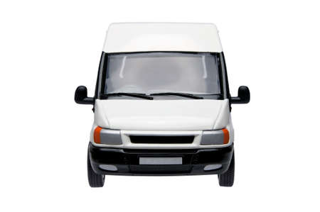 front: Front of a model white van, isolated on a white bacjground with clipping path. Stock Photo