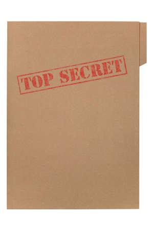 carpetas: Una carpeta manila con las palabras se desvaneci� Top Secret en la parte delantera, aislado sobre un fondo blanco con saturaci�n camino.