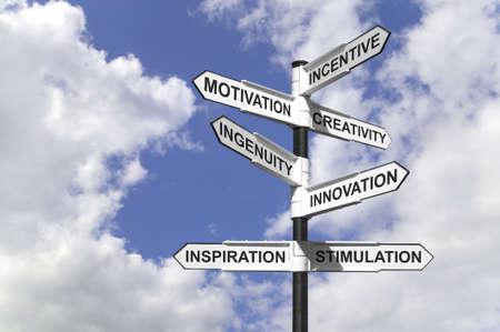 ingenuity: Concept image of a signpost with motivational directions.