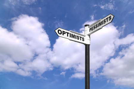 worst: Concept image of a signpost for Optimists and Pessimists Stock Photo