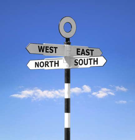 puntos cardinales: Dirección indicador que muestra todos los puntos cardinales Norte, Sur, Este y el Oeste contra un brillante cielo azul.