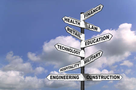 education choice: Concept image of a signpost showing the way to ten different career paths Stock Photo