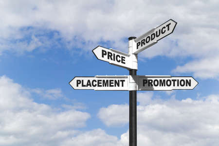 The 4 P's also known as the marketing mix is probably the most famous phrase in marketing, widely thought to be the essential elements for any marketing campaign, represented here on a signpost. Stock Photo - 3584556