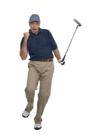 Golfer celebrating after sinking a putt, isolated on white