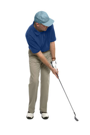 Golfer putting isolated on a white background