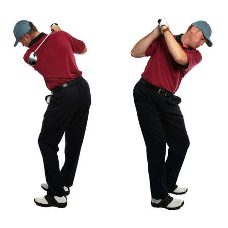 grip: Both side views of a male golfer taking a swing with a golf club isolated on a white background.