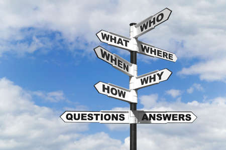 investigate: Concept image of the six most common questions and answers on a signpost.