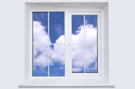 seem: Blue cloudy sky seem through a white window frame. Stock Photo