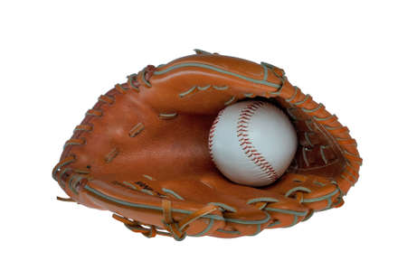catchers mitt: Leather baseball glove and ball isolated on a white background. Stock Photo