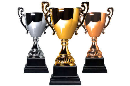 Gold Silver and Bronze trophies isolated on a white background photo