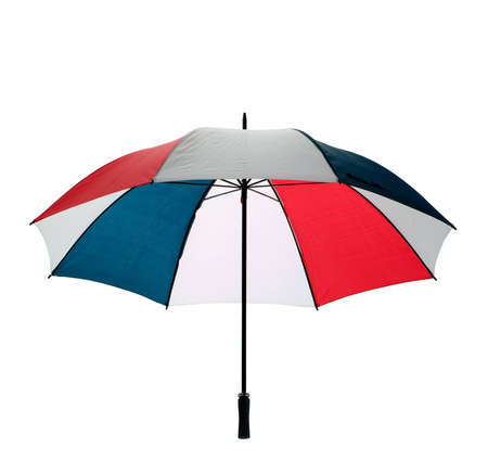 An open multicoloured golfing umbrella isolated  Stock Photo - 4032281